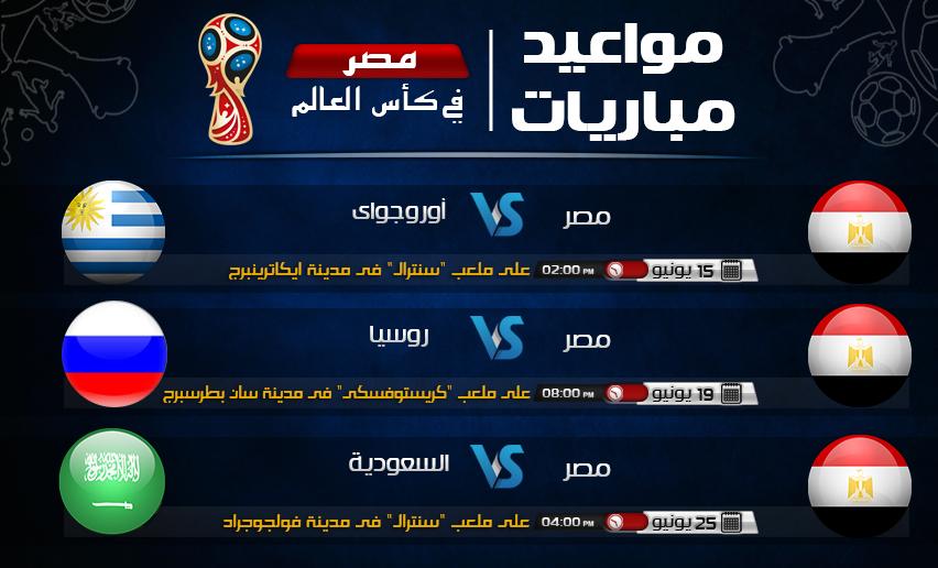 مواعيد مباريات مصر فى كأس العالم