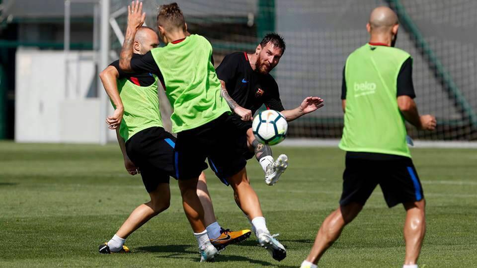 ليو في تدريبات برشلونة