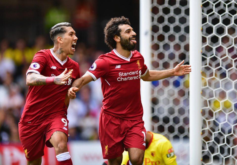 صلاح يحتفل بالهدف الأول له مع ليفربول