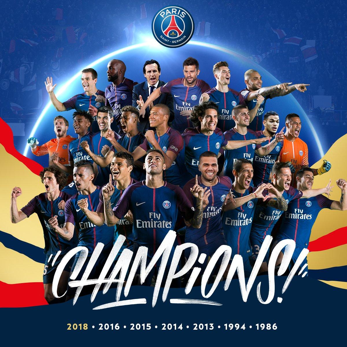 باريس سان جيرمان بطل الدوري الفرنسيى موسم 2017 ــ 2018