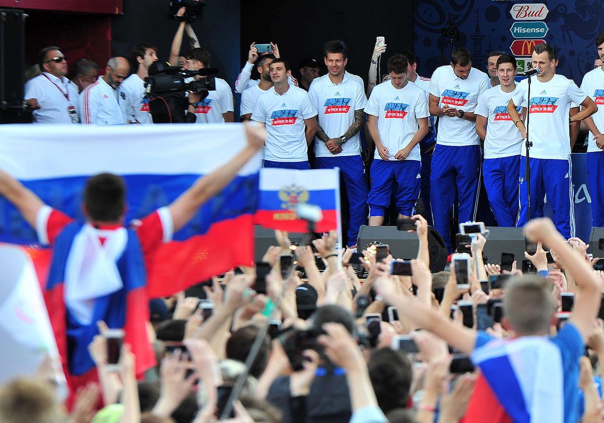 كواليس احتفالية المنتخب الروسي