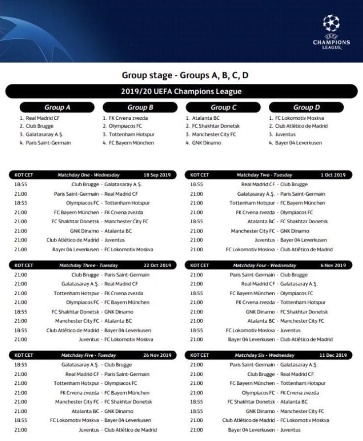 مواعيد مباريات دوري ابطال اوروبا
