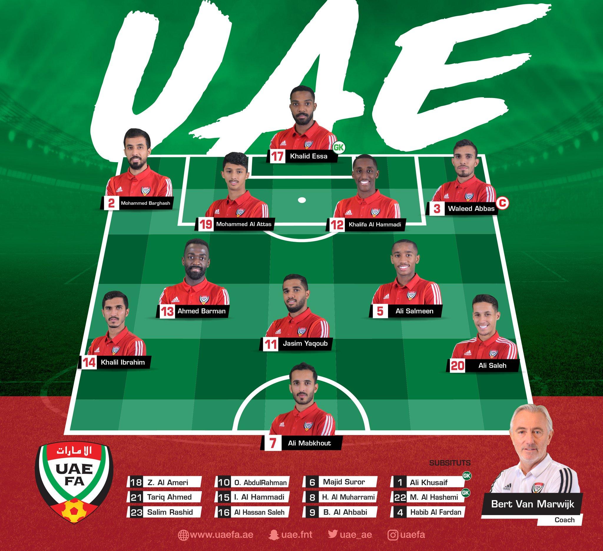 تشكيل المنتخب الإماراتى