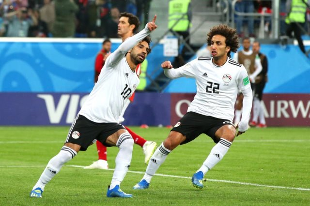 محمد صلاح فى مباراة روسيا