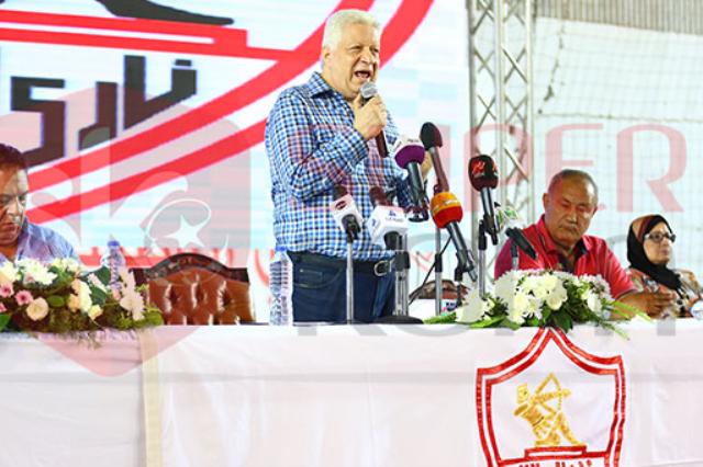رئيس الزمالك خلال المؤتمر الصحفى