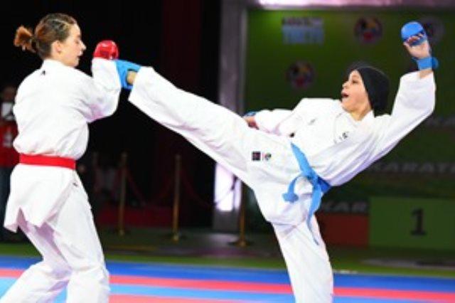 سهيلة أبو اسماعيل لاعبة منتخب الكاراتيه ثالث العالم فى الدورى العالمى بفرنسا