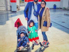 محمود جنش برفقة زوجته وطفيليه فى الزمالك