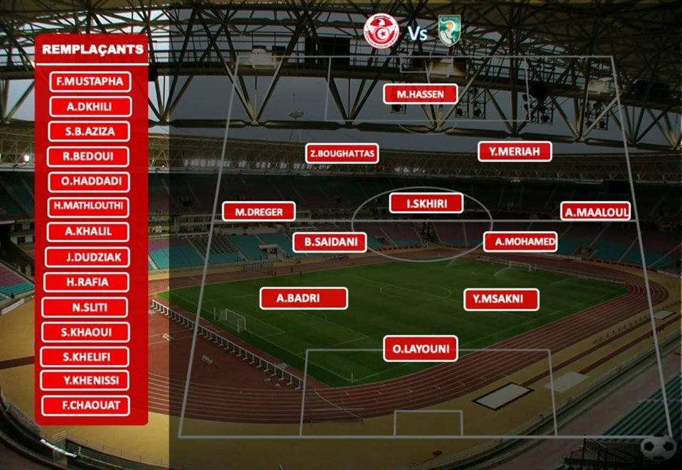 تشكيلة المنتخب التونسي امام طوت ديفوار