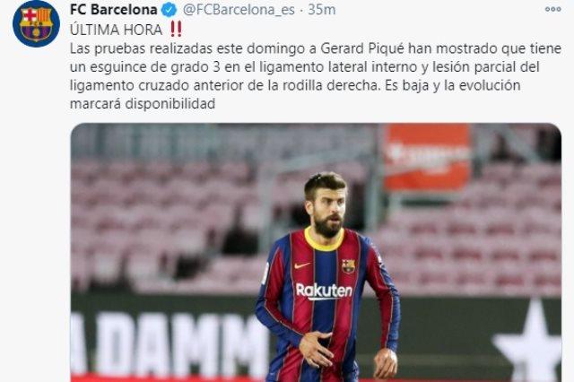 برشلونة يعلن إصابة بيكيه بالرباط الصليبى