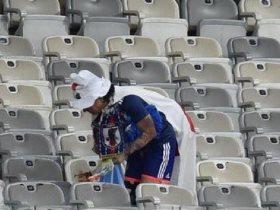 جماهير اليابان ينظفون مدرجاتهم بعد مباراة الإكوادور